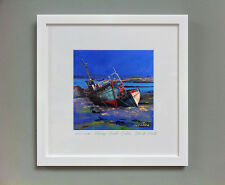 FRASER MILNE 'FISHING BOATS, SALEN, ISLE OF MULL' FRAMED SIGNED PRINT