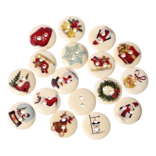 200pcs Mixed Wooden Christmas Gift Buttons 2 Holes Fit Sewing Scrapbook 15mm