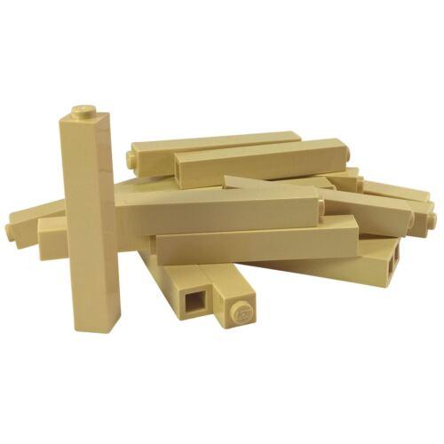 15 NEW LEGO Brick 1 x 1 x 5 Solid Stud Tan