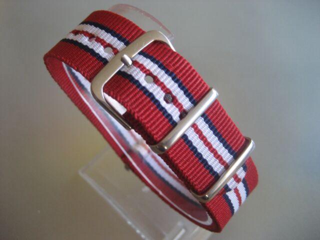 Uhrenarmband Nylon 20 mm rot blau weiß NATO BAND Dornschließe Textil