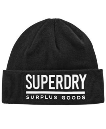70067685016a5 Superdry Unisex Black  White Surplus Goods Logo Turn up Beanie Hat Cap  Cuffed for sale online