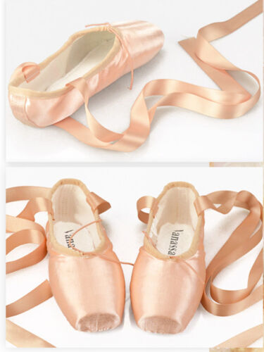Ladies Professional Ballet Dance Pointe Shoes With Ribbon Women Satin Toe Shoes