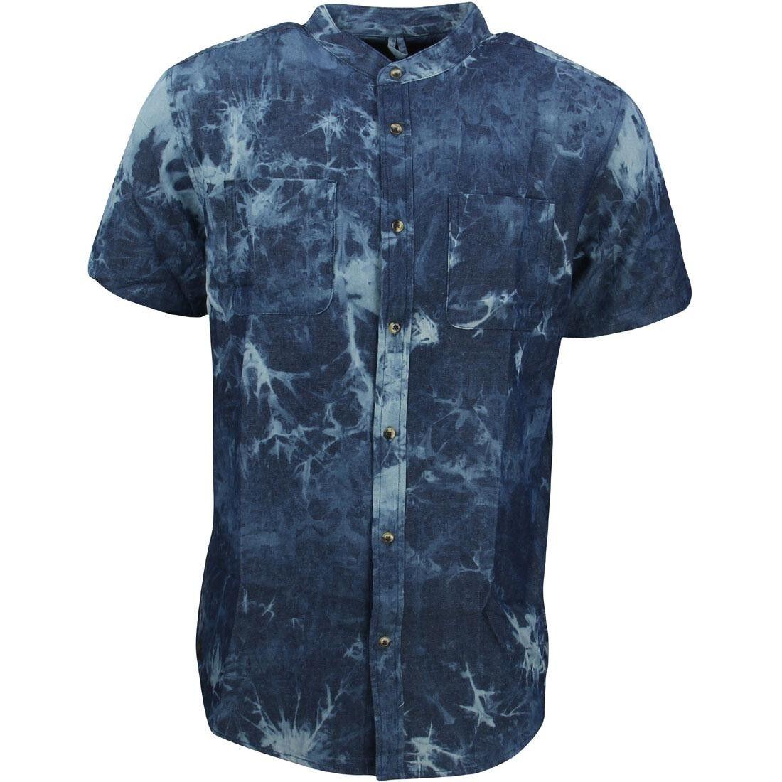 10 Deep Men Tubes Bleach Dye Short Sleeve Shirt bluee dark bleach