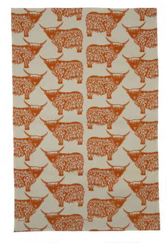 Scottish themed torchon 100/% coton robert burns scottie chien highland cow