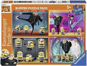 Puzzle-4-X-100-Pieces-Moi-Moche-Et-Mechant-Minions-Despicable-Me