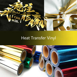 "HTV Heat Transfer Vinyl Rolls 12/""x 8/'FT Film Press Iron on Shirts Textile Silver"