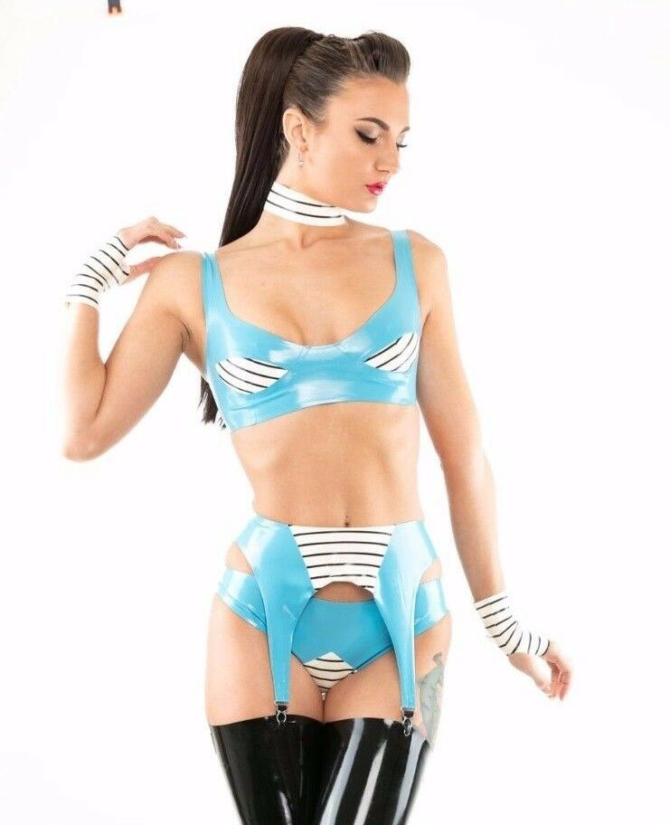 X0589 SET Baby bluee White LATEX RUBBER NEW COLLECTION 40  16 UK RRP