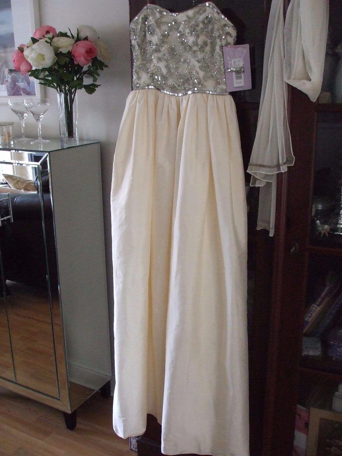 Beautiful PROM JS Collections Vanilla Cream Dress  Beach Wedding  Prom Size 8