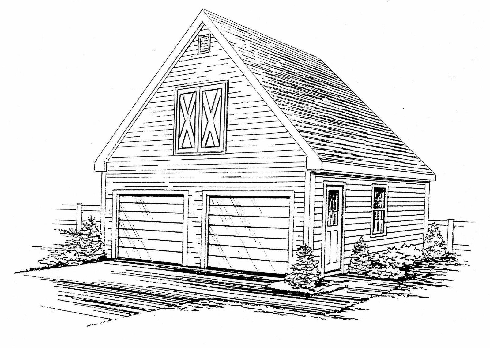 24 x 24 2 Car FG   RD Garage Building Blauprint Plans with pull dn stair to Loft