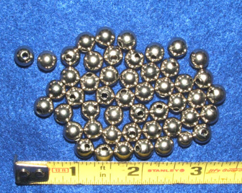 """50 Shiny Silver colored Nickle Beads 5//16/"""" dia Round Hollow approx 6mm"""