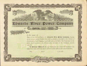 Edwards-River-Power-Company-gt-1910s-Illinois-preferred-stock-certificate-share