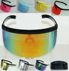 4226dab3b07 XL Oversized Huge Mono Mirrored or Clear Lens Futuristic Visor ...