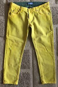 eece0235 PIERRE BALMAIN Women's V.SUPER BASSA 3/4 Distressed Jeans, Yellow ...