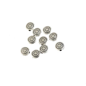100X-Tibetan-Silver-Flat-Round-Whorl-Spacer-Loose-Beads-Charm-Fit-Jewelry-Craft