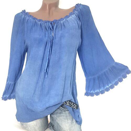 Ibiza Tunika Daniele Gr.40-42-44 Träumchen Damen Blusen Shirt Hemd Moon Blue