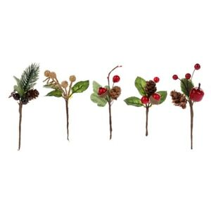 15Pcs-Red-Christmas-Berry-and-Pine-Cone-Picks-with-Holly-Branches-for-HolidR9I3
