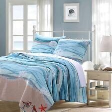 Nautical Blue Aqua Quilt Set FULL/QUEEN Ocean Shell Coral Starfish Beach House
