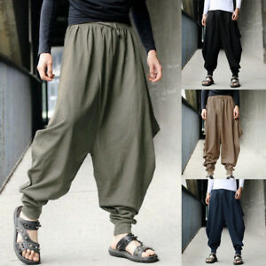 de1de60090 New Men's Casual Harem Japanese Trousers Retro Cotton Linen Hakama ...