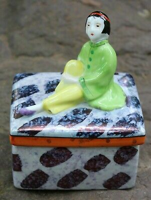 Art Deco Chikusa Gold Castle Japan Girl Lusterware Trinket Powder Box  Porcelain | eBay