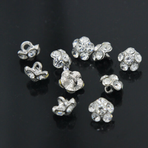 10 Pcs Mini Vintage Style Flower Crystal Rhinestone Shank Buttons Sewing  Crafts. Hover to zoom 52978b77b296