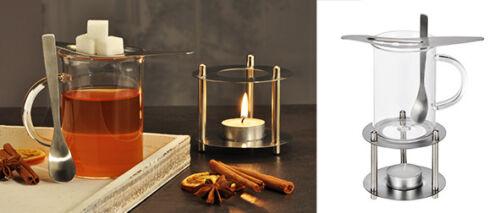 Feuerzangenbowle Glas Teeglas Stövchen Teelicht Mini Feuerzange Winter Edelstahl