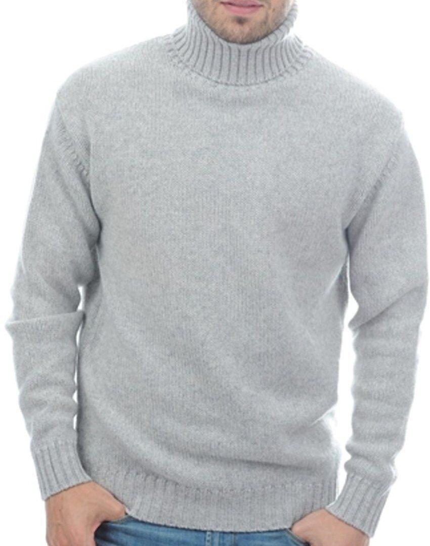 Balldiri 100% Cashmere Rollkragen Pullover 10-fädig hellgrau XL