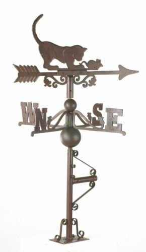 Wind Vane USED Ex-Display Large Rustic Cast Iron Cat and Mouse Weathervane