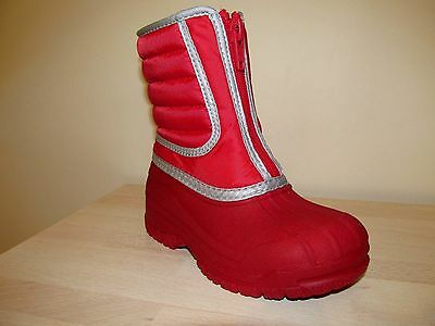 Clarks SNOW Girls kids Teens Boots Red Winter WATERPROOF Lined Padded Wellies