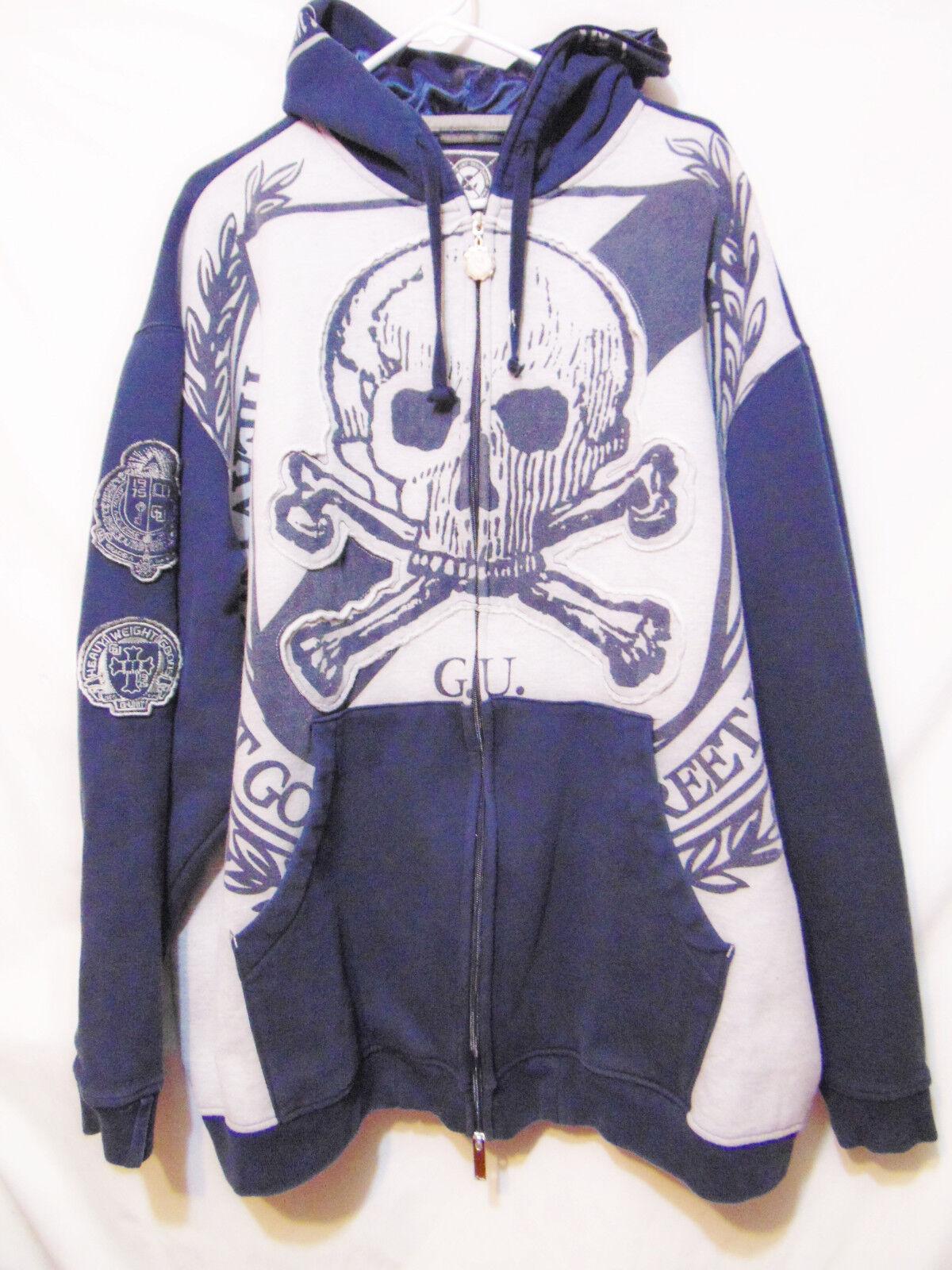 G UNIT Heavyweight Full Zip Front Hoodie 4XL Skull Hip Hop Rapper Rave Dist. 50