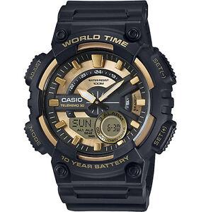 Casio-Men-039-s-Databank-30-Watch-100M-3-Alarms-Chronograph-Resin-AEQ110BW-9AV