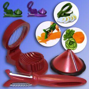 Gemueseschneider-Set-Sparschaeler-Spiralschneider-Eierschneider-Gurken-Schaeler