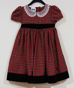 Details About Euc Jo Lene Girls Red Black Plaid Lace Collar Special Occasion Dress Size 4t