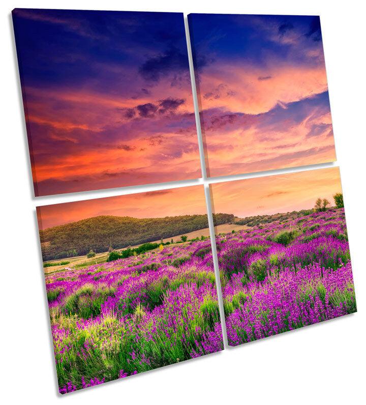 SUMMER Coloreee lavanda AL TRAMONTO CAMPO Multi Tela Wall Art SQUARE Stampa