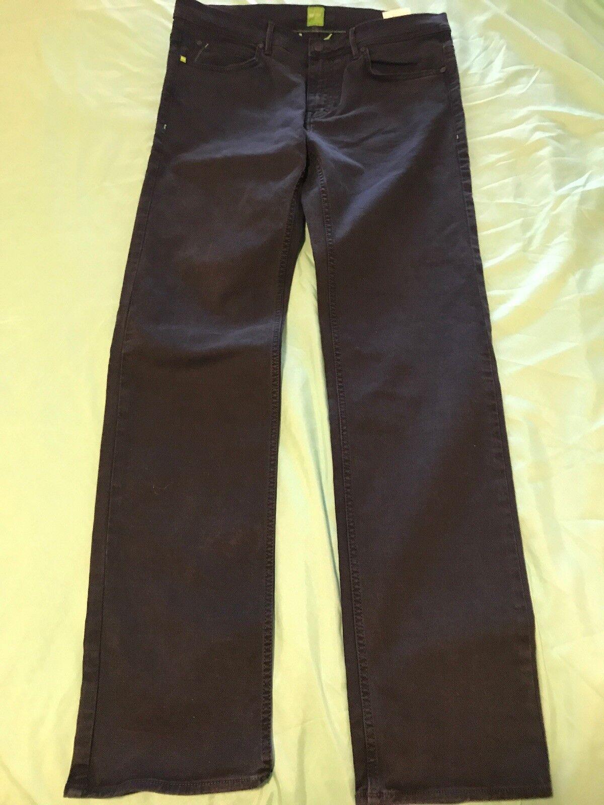 Hugo Boss Mens 32X34 bluee Straight Leg Stretch Cotton Pants TS8