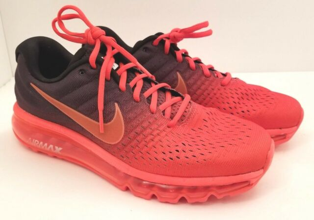 the best attitude 42136 9d38d Nike Air Max 2017 Bright Crimson 849559-600 Running Shoes Mens Size 8.5