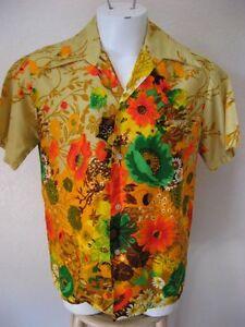 aad174c0 Vintage 60s Hawaiian Shirt Medium Custom Made by Harriet's Beige ...