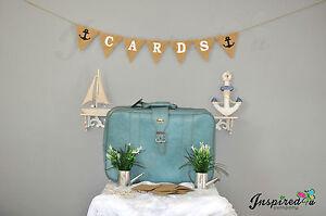 Les-cartes-de-mariage-theme-de-plage-ancre-Bunting-Burlap-banniere-Rustique-Retro-vintage-chic