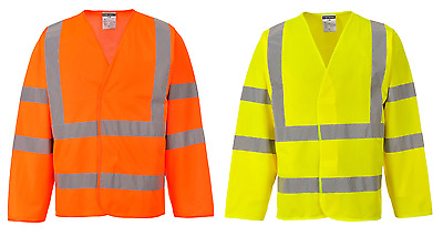 Hi Vis Waistcoat High Viz Safety Work Vest Motorway Jacket LONG SLEEVE C473