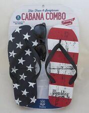 Men's WEMBLEY XL Stars & Stripes FLAG Flip Flops Cabana Combo FREE Sunglasses