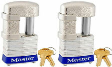 Lock Set by Master 37KA (lot of 2) Keyed Alike Shrouded Laminated Padlocks New