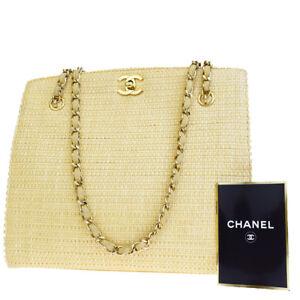 Authentic-CHANEL-CC-Logos-Chain-Shoulder-Bag-Straw-Leather-Beige-Vintage-21L718