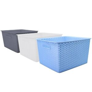 1pc-Large-Rectangle-Plastic-Basket-Wicker-Design-Home-Office-Storage-Organizer