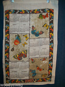 Vintage-Calendar-1980-Material-Butterfly-Quilt-Craft-Free-USA-Ship