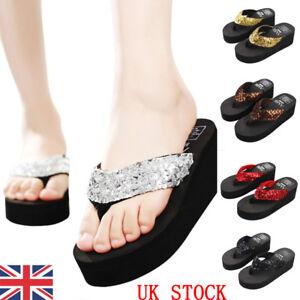 Girls-Wedge-Platform-Thong-Flip-Flops-Summer-Beach-Sandals-Indoor-Slippers-Shoes