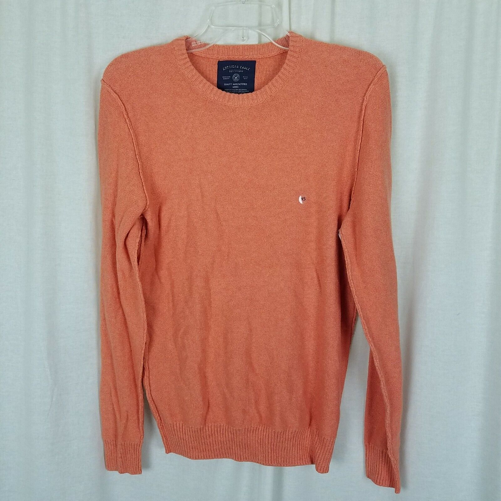 American Eagle 100% Cotton Orange Deconstructed Inside Out Knit Sweater Mens XS