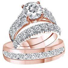 10k Solid Rose Gold Over D Vvs1 Diamond Trio Bridal Wedding Ring Band Set