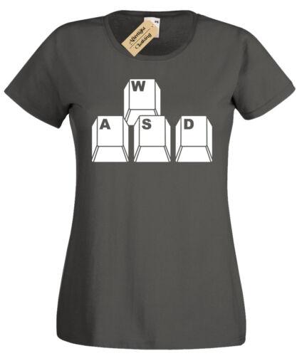 Wasd Tastatur Schlüssel T-Shirt Damen Lustiges Geek-Oben Nerd Spieler Rechner Pc