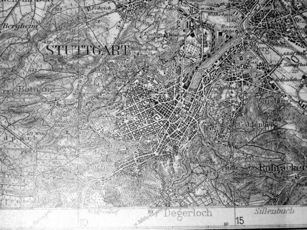 100% QualitäT 590 Stuttgart Karte Des Deutschen Reiches, 1:100.000, Gedruckt 1934