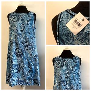 NWT-J-Jill-Love-Linen-Blue-White-Paisley-Shift-Dress-Sleeveless-Womens-Small