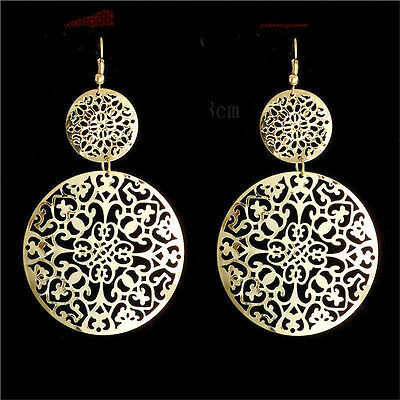 LONG BIG SILVER GOLD DISC EARRINGS ROUND STATEMENT DROP HOOP ETHNIC BOHO TRIBAL